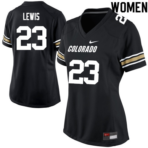 Women #23 Isaiah Lewis Colorado Buffaloes College Football Jerseys Sale-Black
