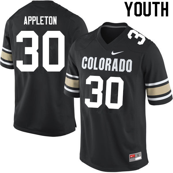 Youth #30 Curtis Appleton Colorado Buffaloes College Football Jerseys Sale-Home Black