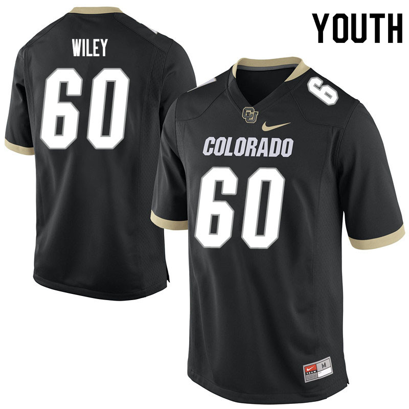 Youth #60 Jake Wiley Colorado Buffaloes College Football Jerseys Sale-Black