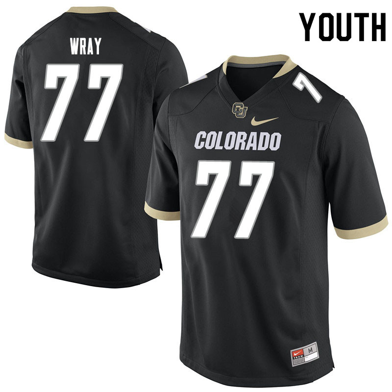 Youth #77 Jake Wray Colorado Buffaloes College Football Jerseys Sale-Black