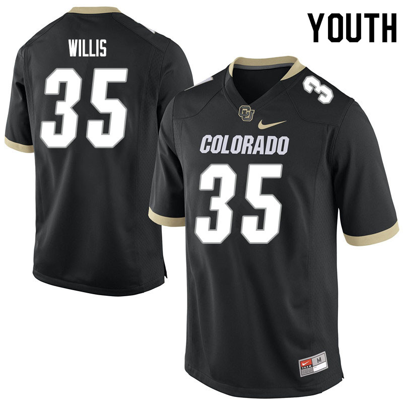 Youth #35 Mac Willis Colorado Buffaloes College Football Jerseys Sale-Black