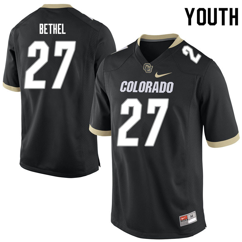 Youth #27 Nigel Bethel Colorado Buffaloes College Football Jerseys Sale-Black
