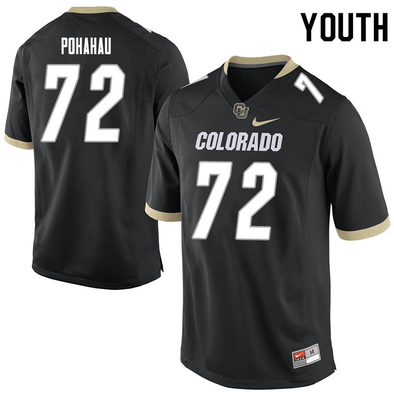 Youth #72 Nikko Pohahau Colorado Buffaloes College Football Jerseys Sale-Black