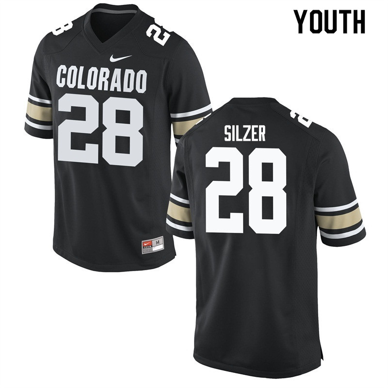Youth #28 Cameron Silzer Colorado Buffaloes College Football Jerseys Sale-Home Black